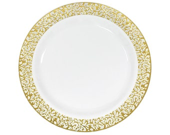 10 Pack Gold Lace Trim Plastic Plates Fancy Salad Plate Dessert Cake Wedding Party Decor Table Budget Dinner Plates Birthday Shower Baby