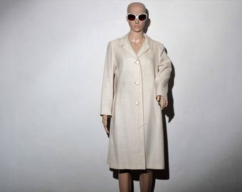 Trench coat linen 60's coat mid season T40