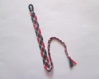 Rug Friendship Bracelet (red, black, light blue) // customizable bracelet // personalized bracelet // gift