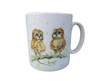 You're a Hoot - Ceramic Owl Mug. Handmade printed onto Durham style mug from an Original Sheila Gill Watercolour