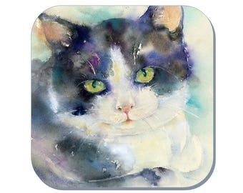 Daydreamer Cat - Cat Coaster, Pet Coaster (Corked Back). From an original Sheila Gill Watercolour Painting