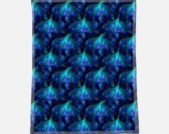 "Gorgeous Blue Geometric Space Print - 30""x40"" Minky Blanket - Baby Blanket - Newborn Gift - Babyshower Gift - Baby Gift"