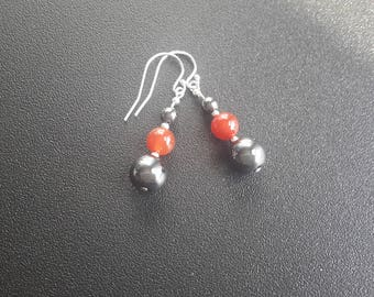 Sterling Silver Hematite and Carnelian Earrings