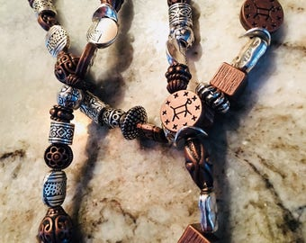 Mixed Metal and Bronze Beaded Necklace