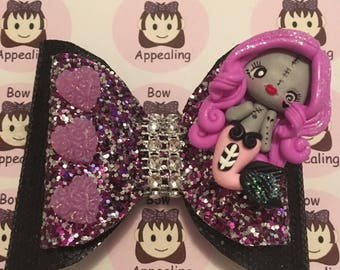 Double layer zombie mermaid glitter bow, glitter hair bow, cute horror hair bow