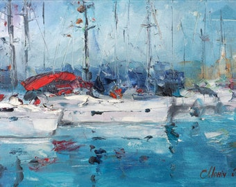 Sailboats in Italy - Yachts - Original Oil Painting On Canvas