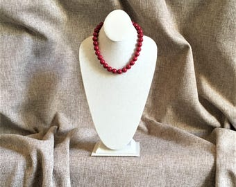 Dolomite marble beads, hand strung with rhodium sterling silver findings, semi precious stones