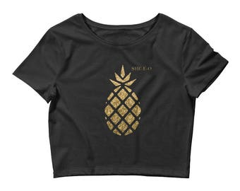 Glitter & Gold Pineapple Crop Tee