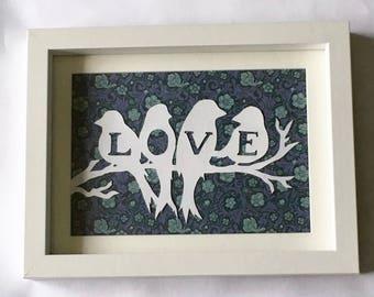 Love birds - handmade paper cut, in white frame