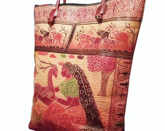 Lady Loves Deer Design Shantiniketan Leather Bags.