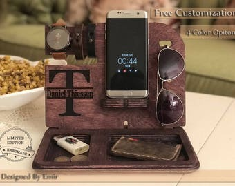 Docking Station gift for husband gift for men Personalized Gift for Him Custom Gift for Dad Fathers Day Gift Wood docking station men gift