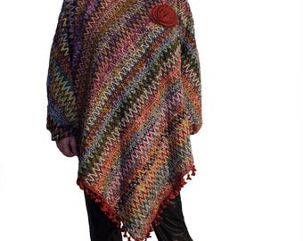 Imprime carp/poncho with sleeves