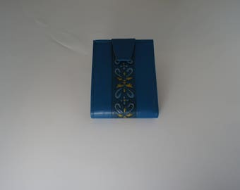 Vintage blue leather women's wallet.  Amity cowhide leather.  Never Used