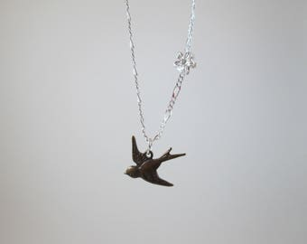 "Brass ""Swallow"" Necklace"