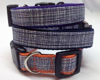 Dog Collar, Navy Blue Crosshatch Dog Collar