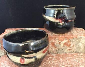 Espresso Cups, 032, Ceramic, Black and Red, Stemless Wine Glass, Ceramic sake cups, Tea Bowl, Wine or Beverage Tumbler,