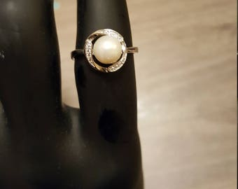 Sterling Silver white Akoya Pearl Ring