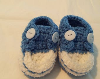 Blue Crocheted Converse Style Baby Booties