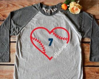 Custom baseball heart raglan--heathered white body and gray sleeves; mom life; sports mom; baseball tee; baseball mom; softball mom;