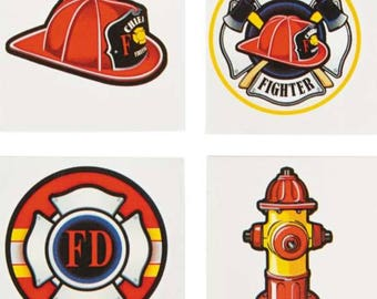 Firefighter tattoos/ firefighter party/ firefighter treat box/ firefighter  Birthday/ firefighters Birthday/ firefighter favors/