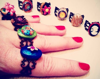 Fiancé ring bronze Bohemian and colorful polymer clay designs