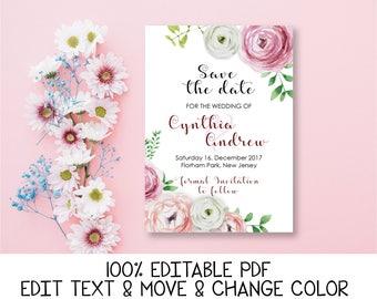 Peony save the date invitation Pink Blush save the date card Floral wedding save the date template Romantic save the date printable DIGITAL