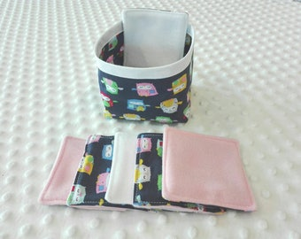 Washable wipes with matching basket