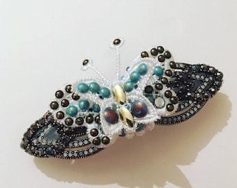 Butterfly barette hair clip