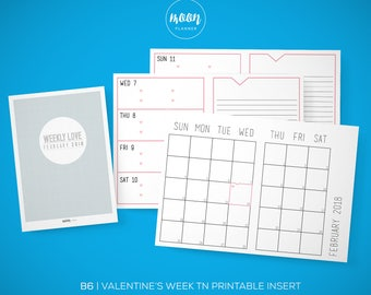 B6 Size | Weekly Valentine's Day Planner TN Printable Insert Planner - Traveler's Notebook, Foxy Fix No. 5 - INSTANT DOWNLOAD!