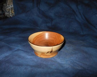 Turned wood condiment bowl, salt bowl