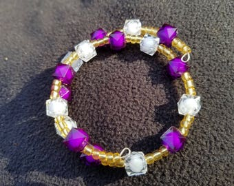 Authentic African Beaded Bracelet (Ghana) - Purple, White, Gold - Reiki and Oil Infused