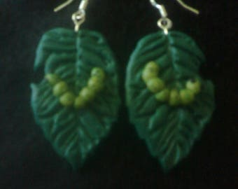 Caterpillar on a leaf polymer clay hook earrings