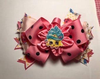 Shopkins Cupcake Queen Pink Polka Dot Handmade Hair Bow