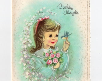 Vintage Young Girl Birthday Card | John Keats Quote | Spring Flowers Pastel Greeting Card | Coronation Collection Made USA | Paper Ephemera