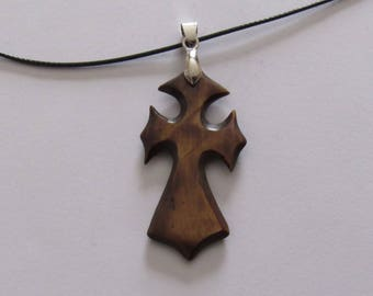 "Carved Bone Cross on an 18"" Cord.  Stained. Pendant is 2 1/4"" X 7/8"".  Jewelry. Pendants."