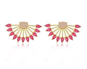 Half Moon Pink Earrings
