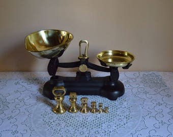 """Vintage English """"Librasco"""" scales with brass bell shaped weights/kitchen scales with brass bells"""