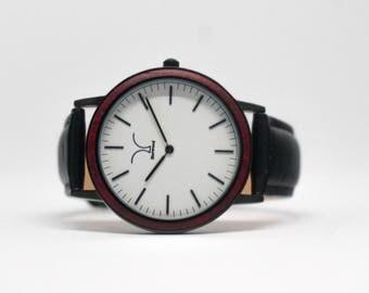 Jet Black / Cherry Wood Watch
