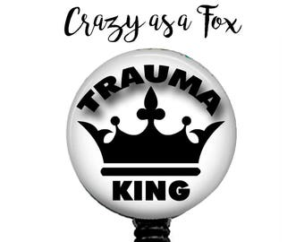 Trauma King Retractable Badge Holder, Badge Reel, Lanyard, Stethoscope ID Tag, ER Doctor, ER Nurse, Nurses Gift