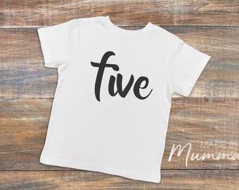 Fifth Birthday, Five, Custom Children's T-Shirt