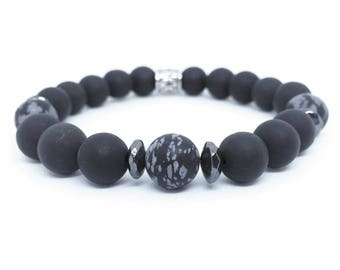 Matte blackstone, snowflake obsidian and hematite bracelet, beaded bracelet, mens jewelry, mens accessories, menswear, mens bracelet