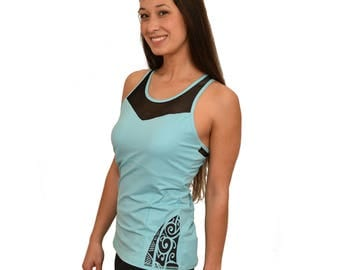 Koru Racerback tank with a Built in Bra and Removable Cups - Maori Tattoo Design