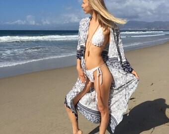 Boho kimono, bikini cover up, kimono, boho poncho, summer kimono, printed kimono, beach cover up, cover up, swimsuit cover up