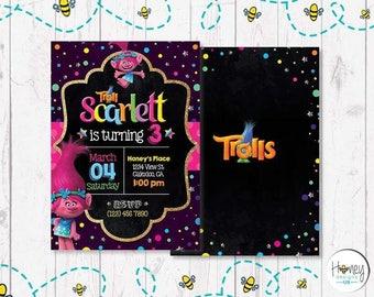 Trolls inspired invite, digital, birthday, party, celebration.