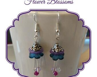 Flower Blossom Earrings, Purple and Teal Floral Earrings