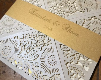 Laser Cut Wedding Invitations with belly band