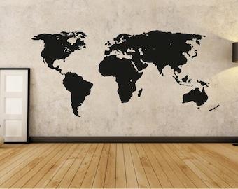 Wall Decal World Map On Grey Background Wallpaper Wall Decor Wall Sticker Wallpaper Room Design