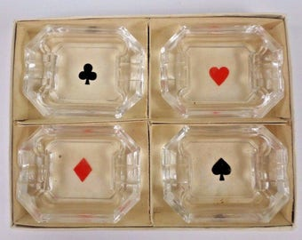 Set of 4 Playing Card Ashtrays Hearts Diamonds Spades Clubs Set in Box Vintage 1960s