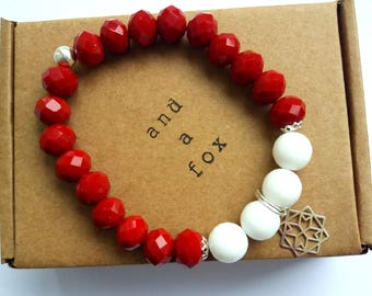 Sterling Silver Red Crystal and White Agate Gemstone Beaded Bracelet 925 Sterling Silver