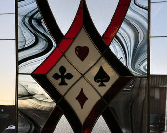 Card suits stained glass